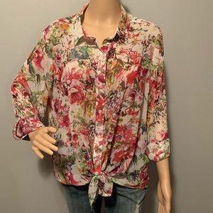 Liz Claiborne semi sheer floral blouse Sz XL